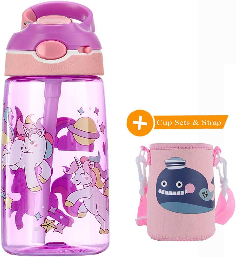 WenX Lindos Botella de Agua Niños 450 ml- Leak Proof BPA Free, Botella de Agua Deportiva con Pajita, para Deportes y Aire Libre