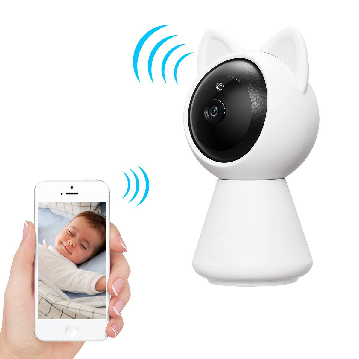Dome Camera YonRui 1080P HD Pan/Tilt Wireless IP Camera Home Surveillance Security Camera System Baby Monitor with Night Vision Motion Alarm iOS, Android App(White)
