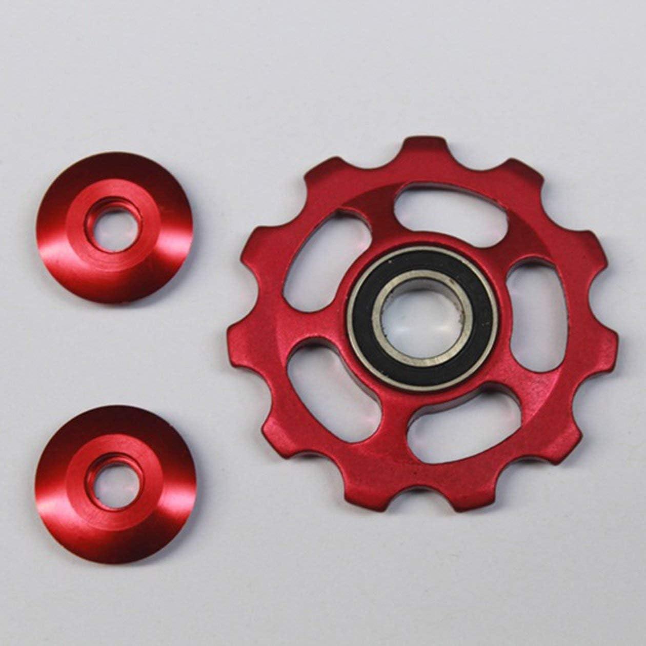 BIYI Aleación de Aluminio Rueda Jockey 11T Rueda de tensión de Bicicleta Desviador Trasero Polea Guía Polea Ciclismo Accesorios para Bicicleta (Rojo)