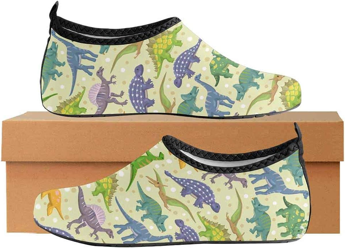 INTERESTPRINT Mens Quick Dry Barefoot Aqua Shoes Dinosaur Pattern Beach Swim Shoes Water Socks Pool Shoes