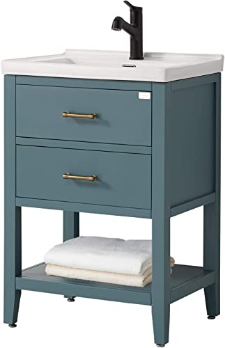 F R 24 Inch Bathroom Vanity and Sink Combo with Storage, Green Bathroom Vanity 24 Inch Modern Bathroom Sink Vanity, Small Bathroom Vanity with Sink Not Included Mirror