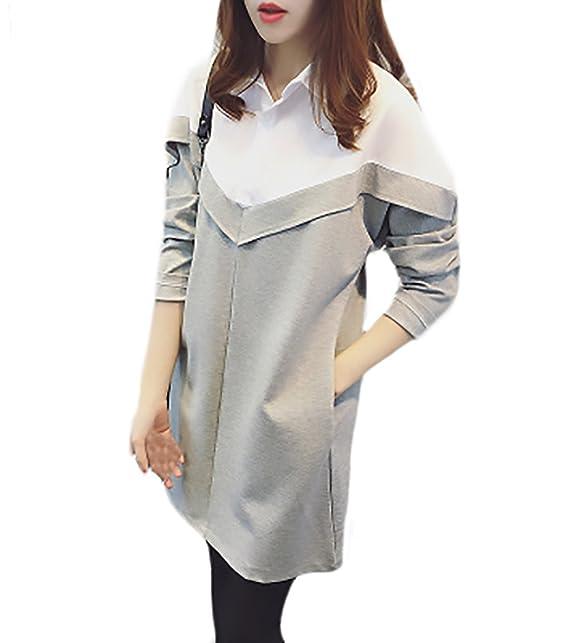 Mujer Camisas Largas Tallas Grandes Elegantes Manga Larga Cuello De Solapa Patchwork Blusa Vestidos Invierno Otoño