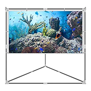 JaeilPLM 100 Inch Wrinkle-Free Portable Outdoor Projection Screen, Setup Stand, Transportable Bag Full Set for Camping and Recreational Events