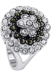 925 Sterling Silver Cubic Zirconia and Marcasite Round Ring