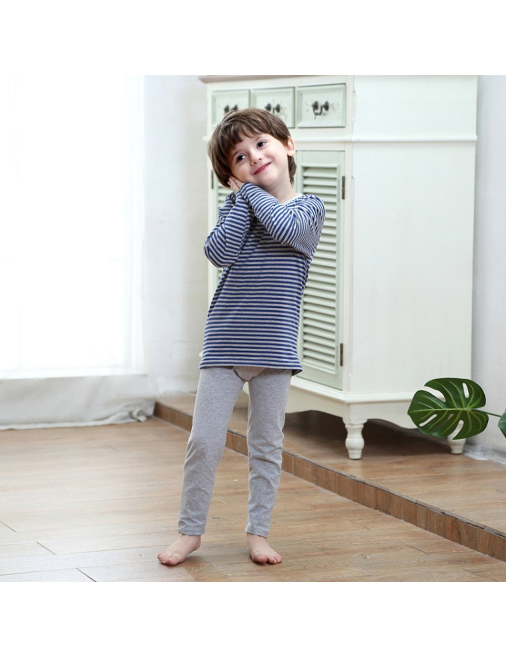 MOKAYA Boys Elastic Thermal Underwear Set Long Top Bottom (160CM,Blue) by MOKAYA (Image #4)