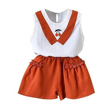 81e7dbb7f40db LILICAT💦Ensembles de Bébé Filles Bébé Fille Vêtements de Tenue Broderie T- Shirt Tops