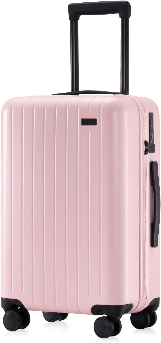 GoPenguin Hardshell Carry On Luggage, 22 Inch Rolling Spinner Suitcase Hard Case Polycarbonate Pink