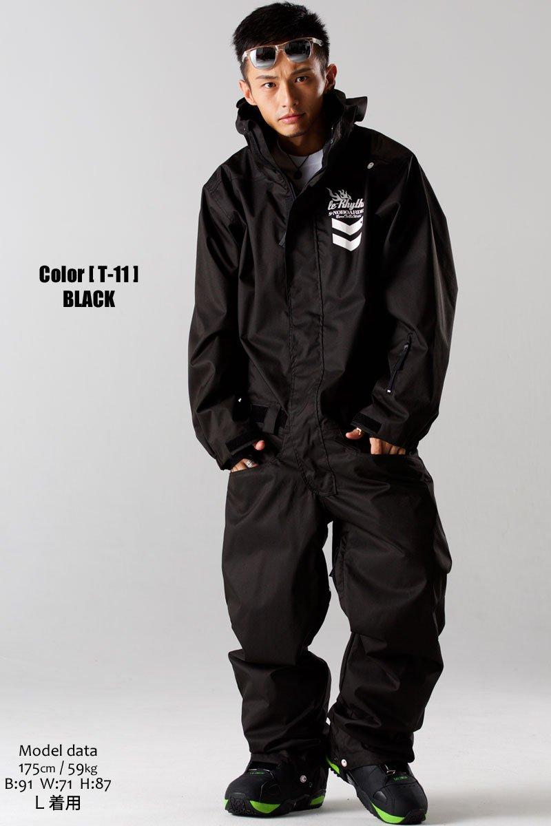 スノーボード ウェア メンズ つなぎ ワンピース メンズ 大きいサイズ XL XXL 16-17 le-Rhythm リアリズム ブラック T11 T-11:ブラック XL