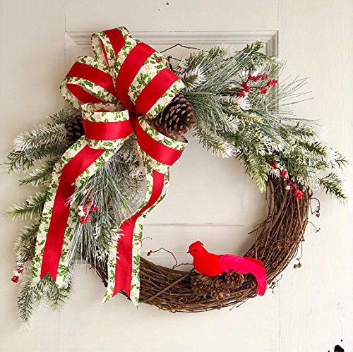 Winter Front Door Wreath with Cardinal and Holly Bow