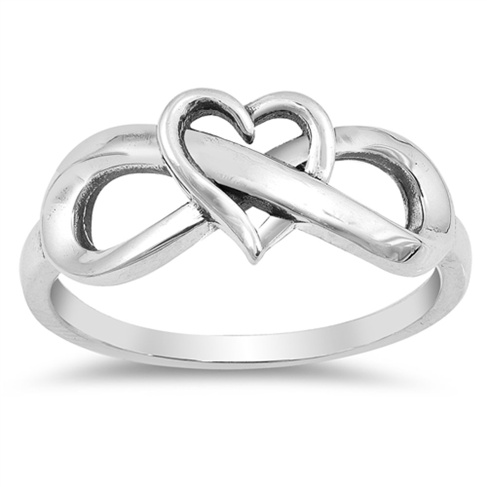 Oxidized Heart Infinity Love Knot Promise Ring Sterling Silver Band Size 7