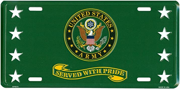 ARMY STAR CAMOUFLAGE METAL NOVELTY CAR LICENSE PLATE TAG US ARMY