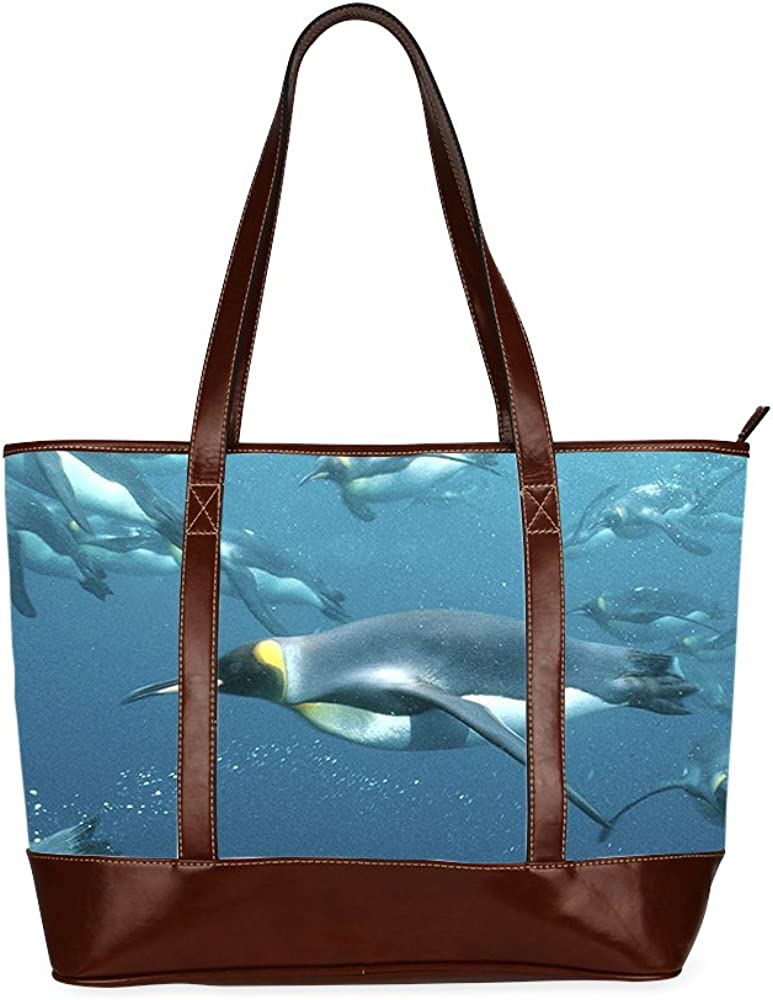 Womens Tote bag Penguin tote bag with Zipper Two-sided Printing