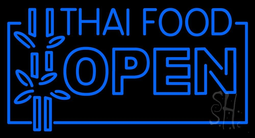 Thai Food Open Neon Sign 20'' Tall x 37'' Wide x 3'' Deep