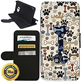 Flip Wallet Case for Galaxy S9 Plus (Dog Paws and Bone Pattern) with Adjustable Stand and 3 Card Holders | Shock…