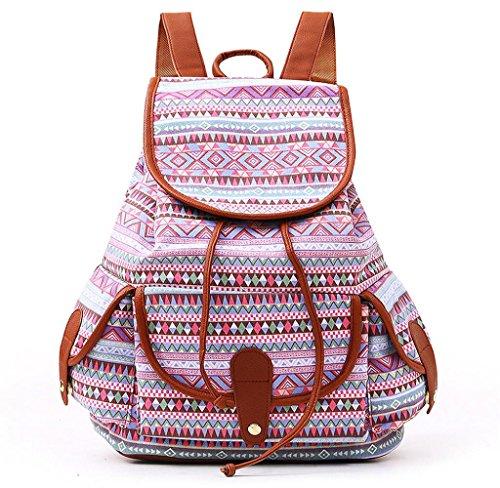 Unisex Mochila de Lienzo, Holacha Bolso Backpack Estilo Etnico Tradicional Retro F