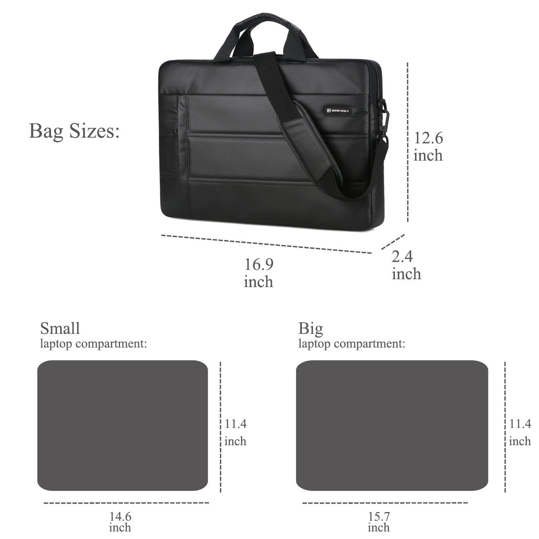 Laptop Messenger Bag 13.3 inch,BRINCH Waterproof Easy Clean Durable Business Laptop Bag Shoulder Bag Work Briefcase Sleeve Case Handbag for Men/Women,Fits 13-13.3'' Laptop/Notebook Computer,Black by BRINCH (Image #8)