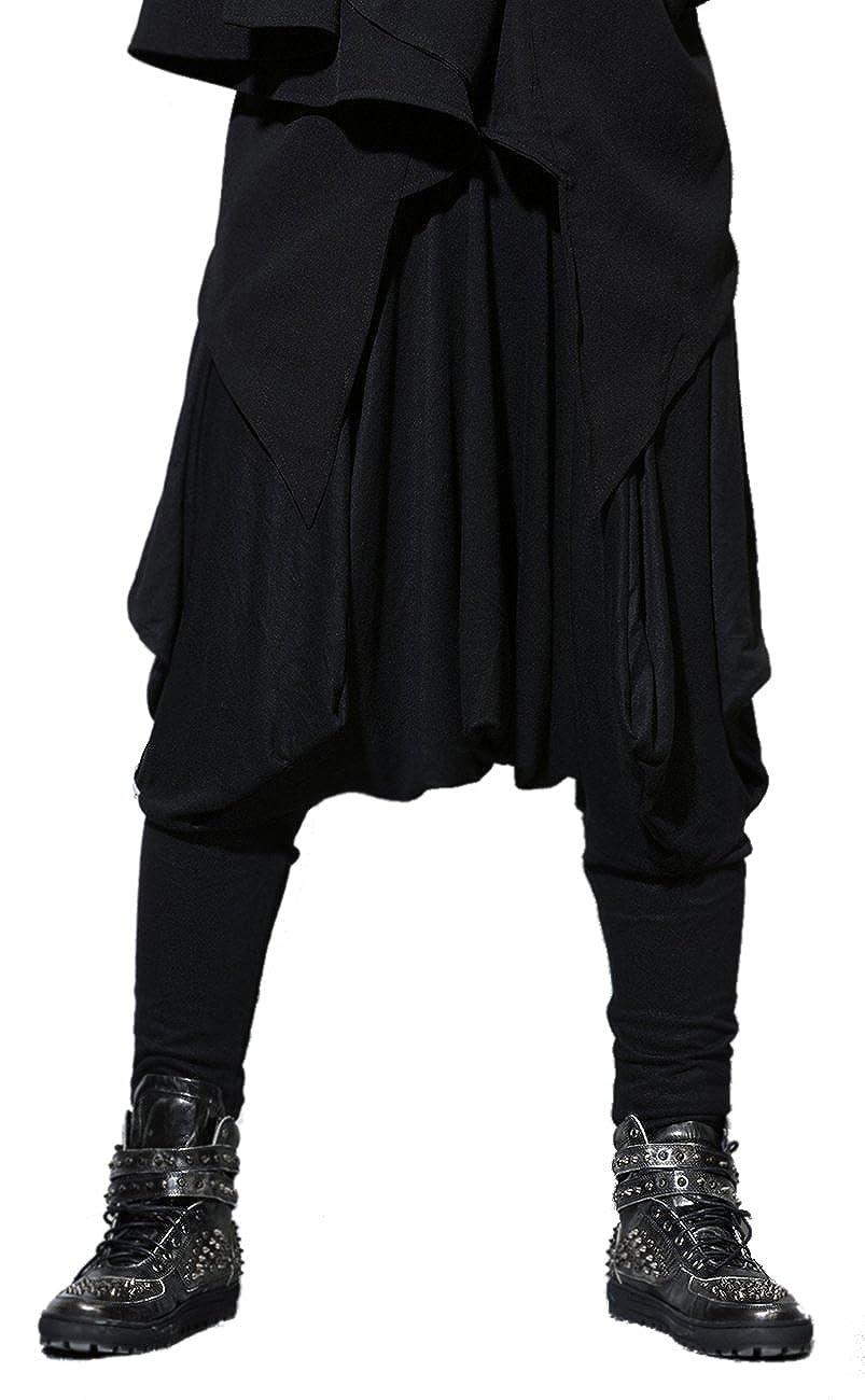 ELLAZHU Men Casual Black Loose Baggy Elastic Waist Harem Pants Onesize GYM22 GC GYM22