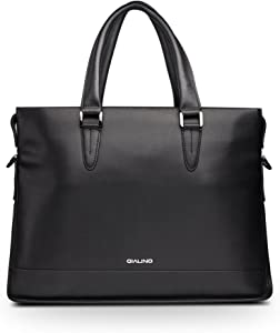 QIALINO Real Leather Briefcase 13 Inch Laptop Bag/Carrying Case with Shoulder Strap, Black