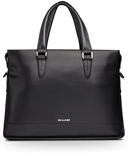 QIALINO Real Leather Briefcase 13 Inch Laptop Bag Carrying Case with Shoulder Strap, Black