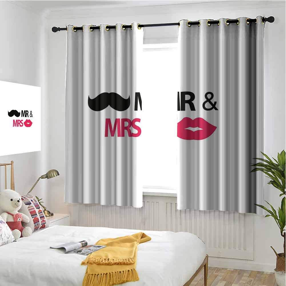Home Décor Hengshu Wedding Blackout Curtains For Bedroom Funny Stencil Art Lips Moustache Mr And Mrs Retro Stylized Design Art Print Thermal Insulated Soundproof Curtain W42 X L36 Inch Black Pink White