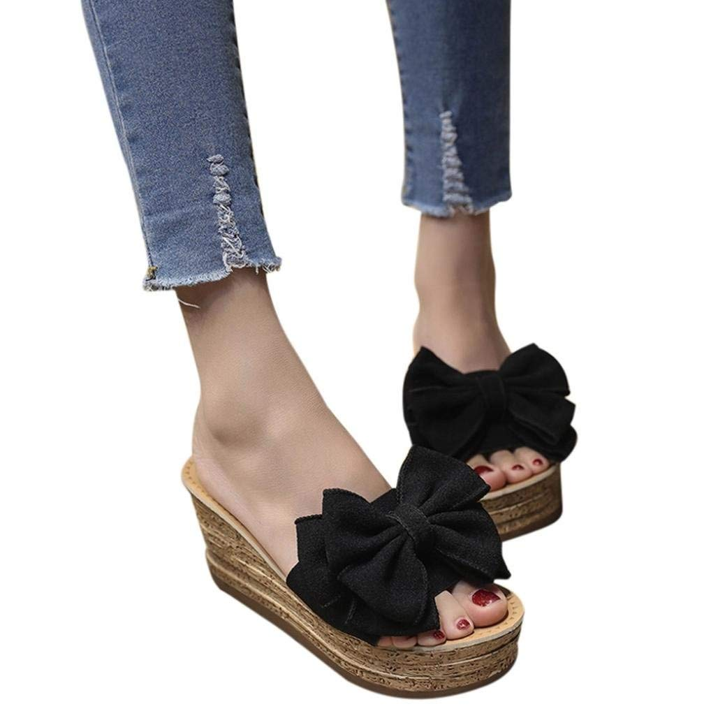 Gobling Womens Leisure Platforms Shoes Fashionable Glossy Solid Color Cozy Fabric Sandals Spring Summer Urban Trend All-Match Bow Wedge Sandals (Color : Black, Size : 5 M US)