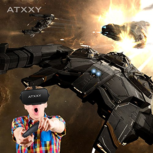 ATXXY VR Headset with Remote Controller 3D VR Glasses Virtual Reality Headset with Stereo Headphone and Adjustable Headstrap for 3D Movies & VR Games, Fit for 4.0-6.4 inch IOS/Android Smartphone by ATXXY (Image #3)