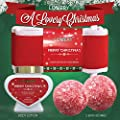 Bath and Body Christmas Gift Basket For Women - Strawberry & Sandalwood Fragrance - Holiday Home Spa Set, Includes Merry Christmas Body Lotion, 2 Oversized Bath Bombs, Bath Salt, Weaved Basket & More