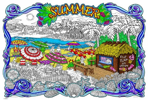 Stuff2Color Summertime - Giant 22 X 32.5 Inch Line Art Coloring Poster (Great for Family Time, Adults, Kids, Classrooms, Care Facilities and Group Activities)