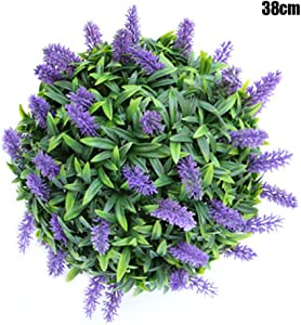 Artificial Flowers, Homemade Purple Lavender Hanging Topiary Ball Flower Decor Basket Handmade Artificial Plants Fake Flowers Bridal Wedding Bouquet for Home Garden Party Wedding Decoration (38cm)