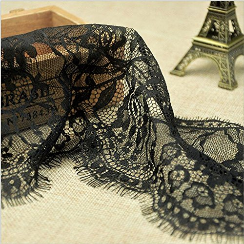 3 Yard Black Grace Embroidered Lace Dress Lace Trim Fabric Ribbon Curtain Accessory Craft Lace 6'' Width