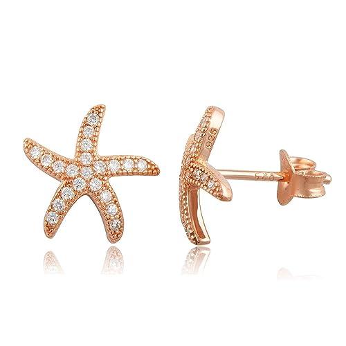 b6b3d42e4 Amazon.com: Mmiiss 925 Sterling Silver Starfish Stud Earrings Sea Star  Studs Crystal Earrings for Girls: Jewelry