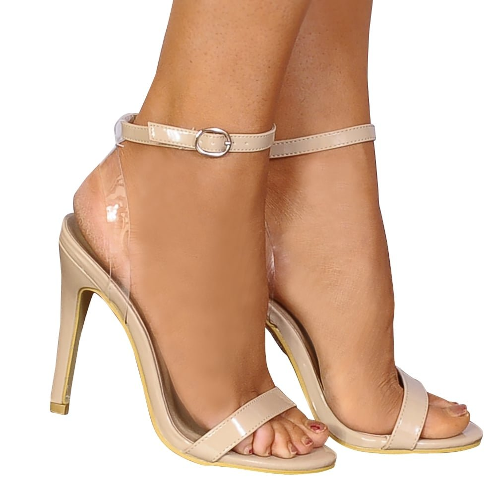 bed41c019bee Shoe Closet Ladies Nude Patent Barely There Stilettos Peep Toes Strappy  Sandals High Heels  Amazon.co.uk  Shoes   Bags