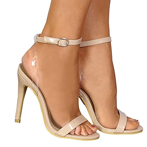 204e7438fea3 Shoe Closet Ladies Nude Patent Barely There Stilettos Peep Toes Strappy  Sandals High Heels UK3