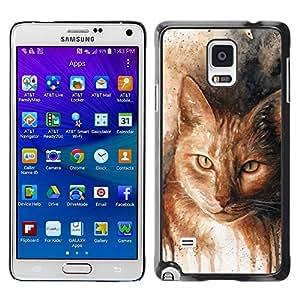 Be Good Phone Accessory // Dura Cáscara cubierta Protectora Caso Carcasa Funda de Protección para Samsung Galaxy Note 4 SM-N910 // Drawing Cat Art Orange Ginger Yellow
