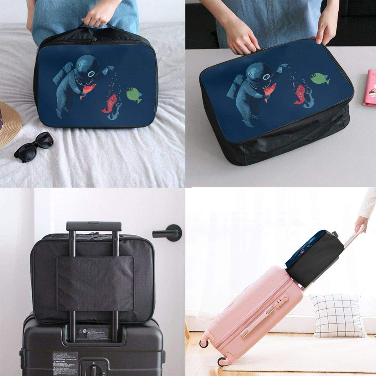 Diver Feeding Fishes Friend Travel Lightweight Waterproof Folding Storage Portable Luggage Duffle Tote Bag Large Capacity In Trolley Handle Bags 6x11x15 Inch