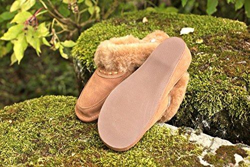 Beige Femme ENCAJE Peau de Pantoufles mouton Chaussons Pour 0fn7q6wx