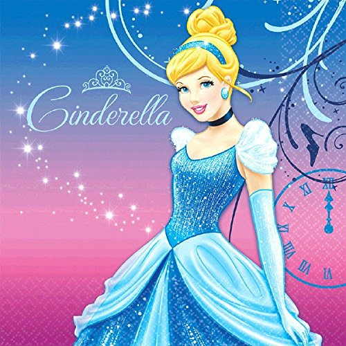 Cinderella Printed Luncheon Napkins Disney Princess Birthday Party Tableware (16 Pack), Multi Color, 6.5