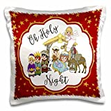3dRose Oh Holy Night with a Cute Nativity on a Gold and Red Star Background Pillow Case, 16 x 16''