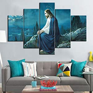 Jesus in Gethsemane Paintings Extra Large Wall Pictures for Living Room Jesus in Garden Artwork Framed 5 Panel Artwork Print On Canvas Home Decor Modern Gallery-wrapped Ready To Hang(60''Wx40''H)