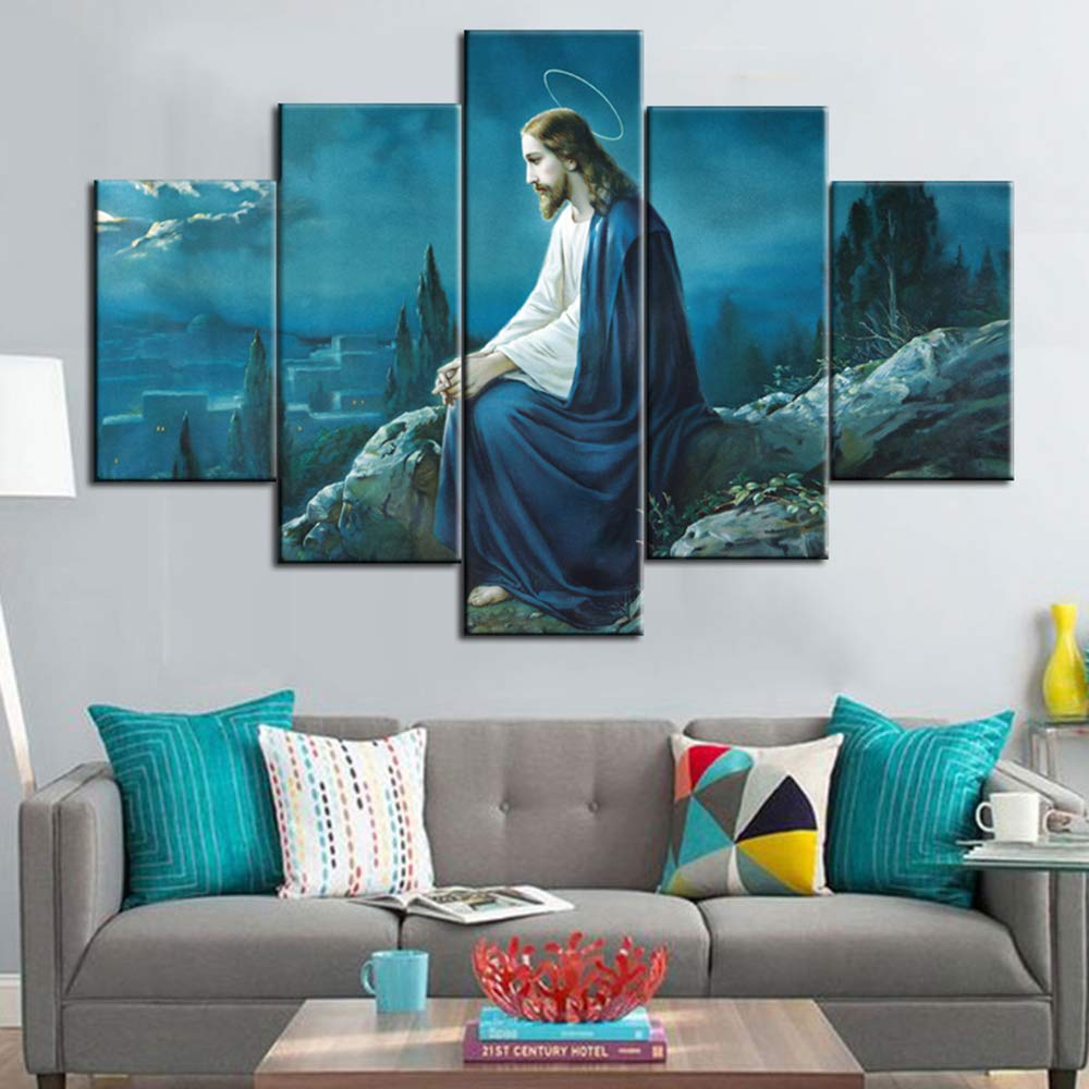 Jesus in gethsemane paintings extra large wall pictures for living room jesus in garden artwork framed 5 panel artwork print on canvas home decor