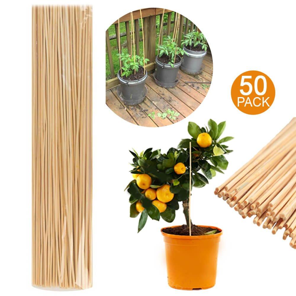50 Wooden Bamboo Plant Sticks 40cm Garden Canes Plants Support Flower Stick Cane - Plant Support Bamboo Stick - Garden Plant Grow Wooden Support (1) Shooting Star Essentials