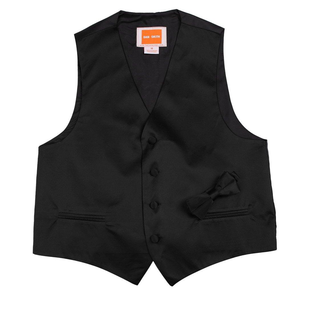 Boys Plain Waistcoat Microfiber Fine World Children Vest with Matching Bow Tie,Black,Size 10A
