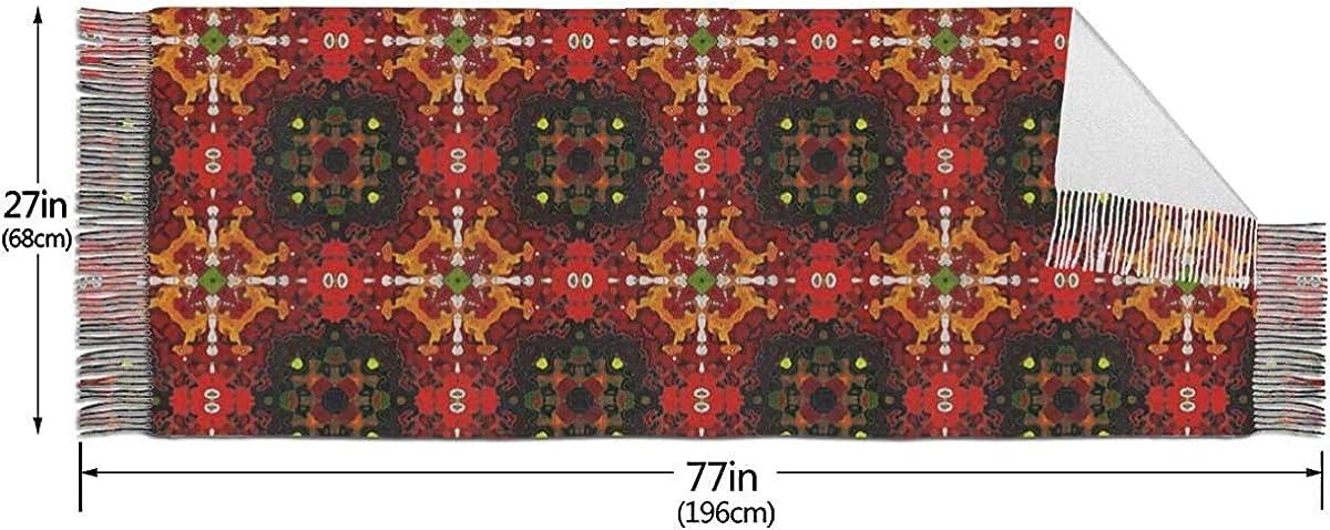 Womens Stylish Warm Tassels Scarf Ornamental Carpet Tablecloth Soft Winter Large Blanket Wrap Shawl 27 X 77 Inches