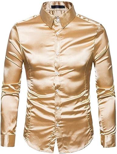 Camisa De Hombre Sonnena Larga Elástico Manga Slim Fit Mode De Marca Ocio Boda De Negocios Camisa De Manga Larga Hombres Moda Color Puro Manga Larga Camisas Casuales Ropa Tops Blusa Tops: