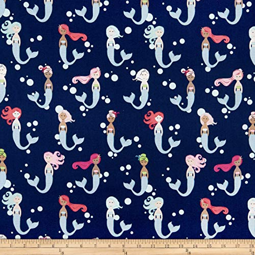 - Riley Blake Designs Lets Be Mermaids Main Navy, Fabric by the Yard