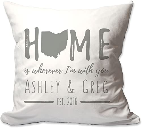 Pattern Pop Personalized Ohio Home is Wherever I m with You Throw Pillow