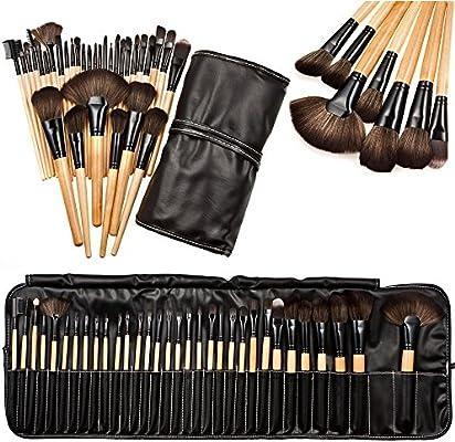 HONG98 Set de brochas de maquillaje 32 piezas/Maquillaje de Ojos Rubor Contorno de los Labios Corrector Brochas Cosméticas/profesional Kit de maquillaje esencial + Caja de almacenaje (32piezas): Amazon.es: Hogar