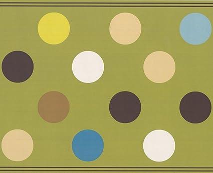 Carta Da Parati Pois Grigio : Retro art marrone beige grigio antracite blu a pois bianchi d