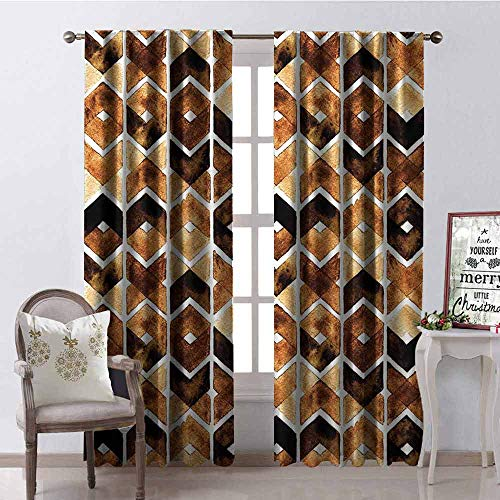 GloriaJohnson Watercolor Blackout Curtain Chevron Geometric Motifs in Dark Coffee Colors Zigzag Tribal 2 Panel Sets W52 x L72 Inch Brown Caramel Light Brown