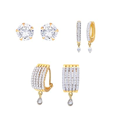 094bc4236 Zeneme Gold Plated American Diamond Earrings Combo for Women: Amazon.in:  Jewellery